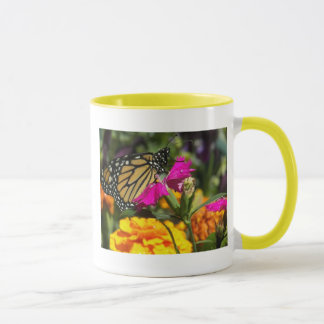 Monarch butterfly on pink marigold-mug mug