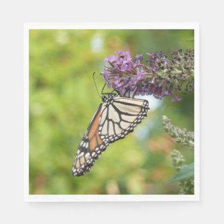 Monarch Butterfly on Purple Butterfly Bush Paper Napkin