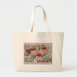 Monarch Butterfly on Purple Coneflowers Painting Canvas Bags