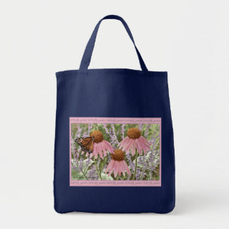 Monarch Butterfly on Purple Coneflowers Painting Grocery Tote Bag