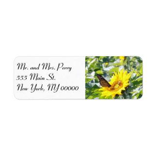 Monarch butterfly on sunflower label return address label