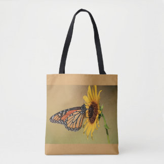 Monarch Butterfly on Sunflower Tote Bag