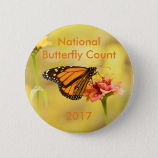 Monarch Butterfly on Zinnia 6 Cm Round Badge