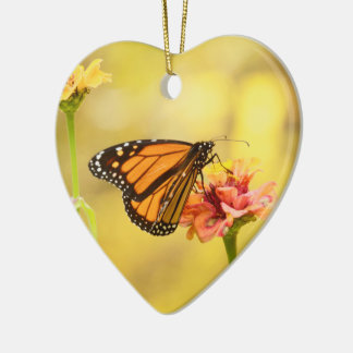 Monarch Butterfly on Zinnia Ceramic Heart Decoration