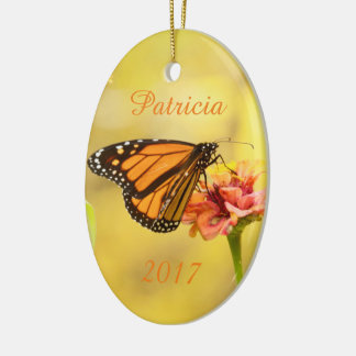 Monarch Butterfly on Zinnia Ceramic Oval Decoration