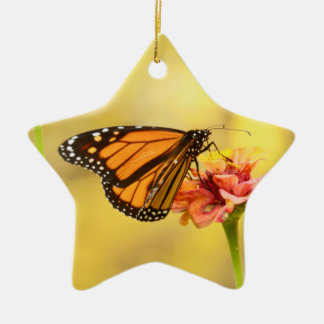Monarch Butterfly on Zinnia Ceramic Star Decoration