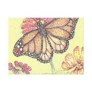 Monarch Butterfly on Zinnia Flower Canvas Print