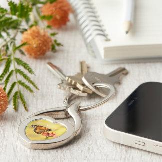 Monarch Butterfly on Zinnia Key Ring