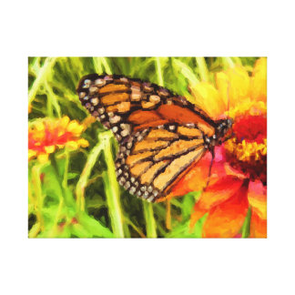 Monarch Butterfly on Zinnia Painting Canvas Print