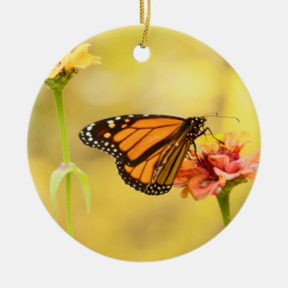 Monarch Butterfly on Zinnia Round Ceramic Decoration