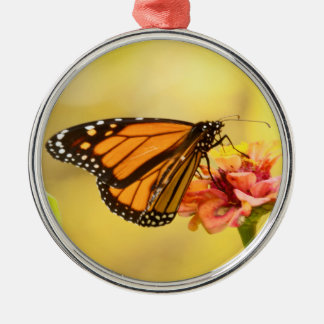 Monarch Butterfly on Zinnia Silver-Colored Round Decoration
