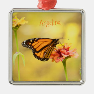 Monarch Butterfly on Zinnia Silver-Colored Square Decoration