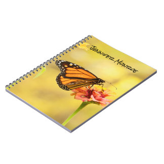 Monarch Butterfly on Zinnia Spiral Notebook