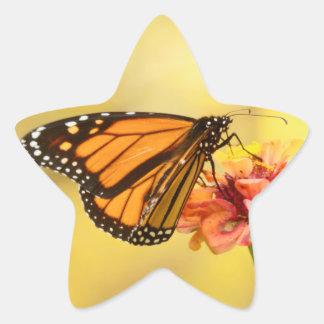 Monarch Butterfly on Zinnia Star Sticker