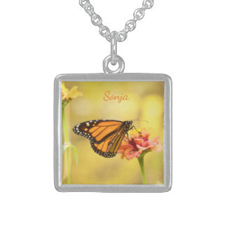Monarch Butterfly on Zinnia Sterling Silver Necklace