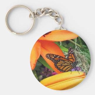 Monarch Butterfly Orange Flower Throne Key Chain
