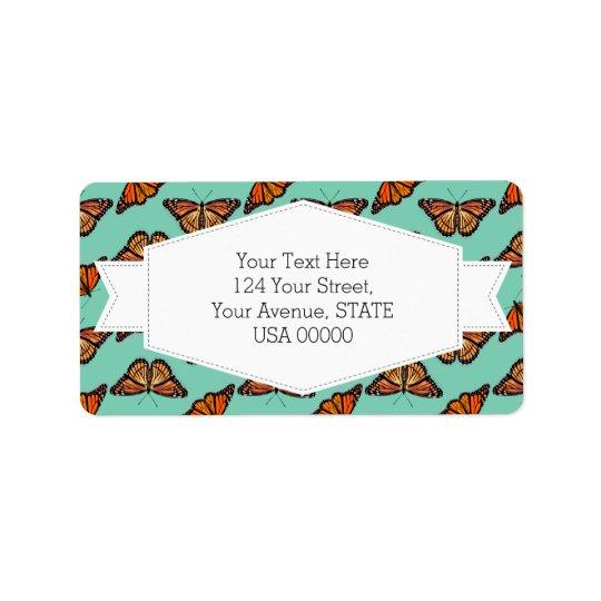 Monarch Butterfly Pattern Address Label
