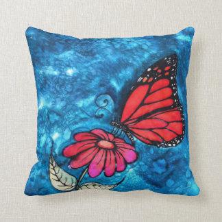 Monarch Butterfly Pillow: Original Silk Painting Cushion