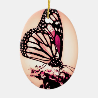 Monarch Butterfly, Pink - Ceramic Oval Decoration