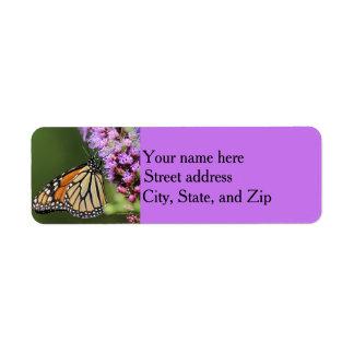 Monarch butterfly profile return address label