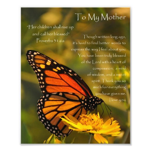 """Monarch Butterfly """"Proverbs 31:6"""" Mother Thank You Photographic Print"""