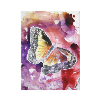 monarch butterfly purple abstract art orange stretched canvas prints
