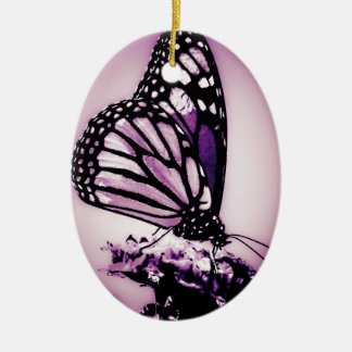 Monarch Butterfly, Purple - Ceramic Oval Decoration