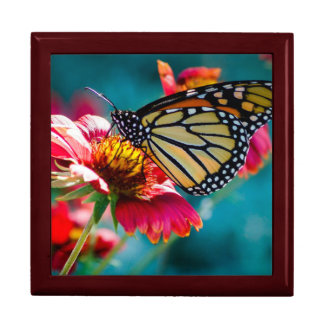 Monarch Butterfly Red Flower Large Square Gift Box