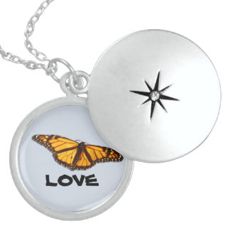 Monarch Butterfly Round Sterling Silver Locket