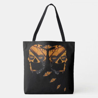 Monarch Butterfly Skulls Tote Bag