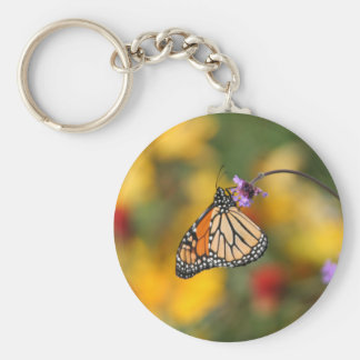 Monarch Butterfly Stops for Pollen Basic Round Button Key Ring