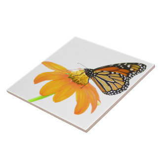 Monarch Butterfly Sunflower Flower Wildlife Floral Ceramic Tile