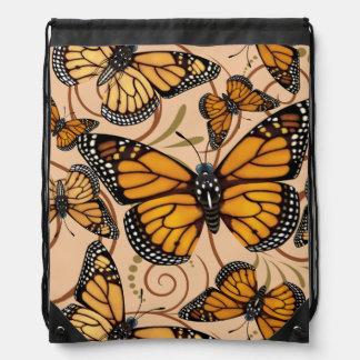 Monarch Butterfly Swirl Drawstring Bag