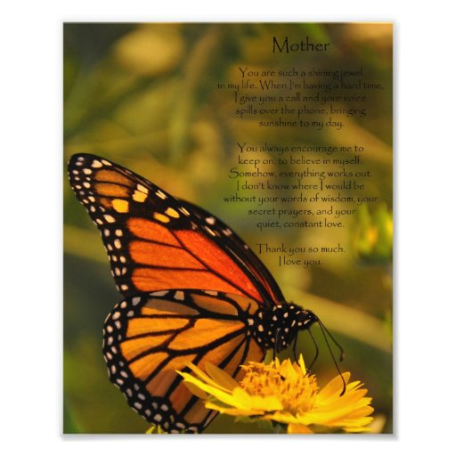 """Monarch Butterfly """"Thank You Mother"""" Photo Print"""