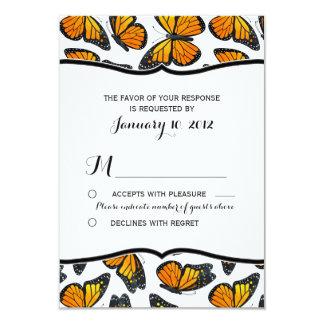 Monarch Butterfly Wedding RSVP 9 Cm X 13 Cm Invitation Card