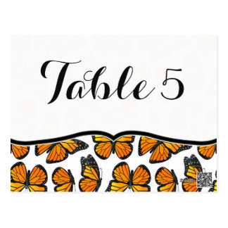 Monarch Butterfly Wedding Table Number Postcard