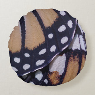 Monarch Butterfly Wing Round Pillow