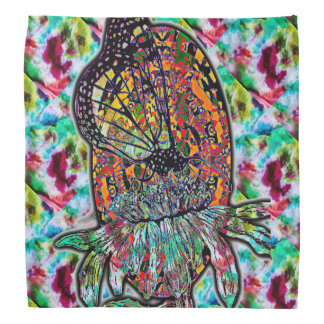 Monarch Design on Tiled Tie-Dye Pattern Bandana