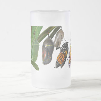 MONARCH LIFE CYCLE FROSTED GLASS BEER MUG