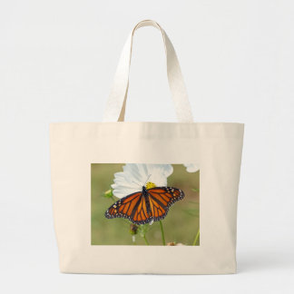 Monarch on Cosmos Large Tote Bag