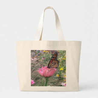 Monarch on Zinnia Large Tote Bag