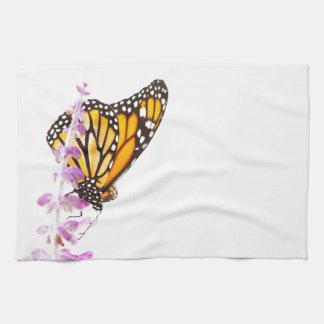 Monarch perched on lavender tea towel