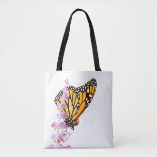 Monarch perched on lavender tote bag