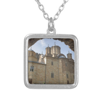 Monastery in Serbia Silver Plated Necklace