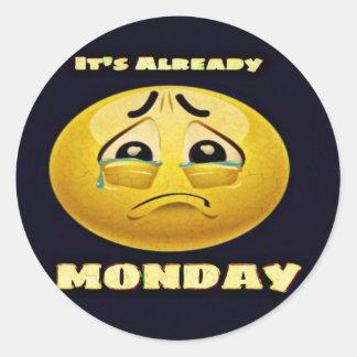 Monday Blues Classic Round Sticker