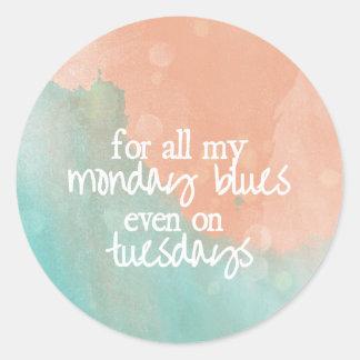 Monday Blues Round Sticker