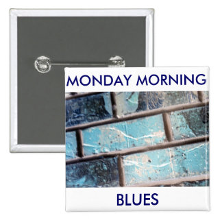 Monday Morning Blues Brick Wall Button Buttons