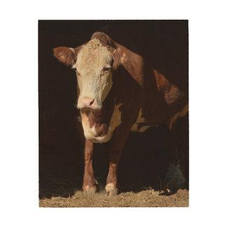 Monday Morning Grump Cow Wood Print