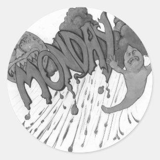 Monday Round Sticker
