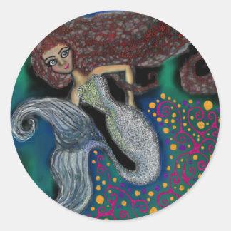Monday the Mermaid. Classic Round Sticker
